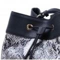 Τσάντα πουγκί μαύρη με λευκό φίδι 50-236