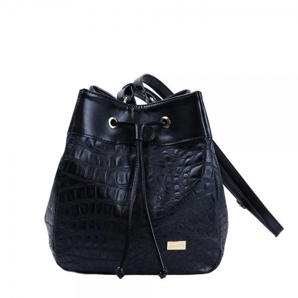 Τσάντα πουγκί κροκό Μαύρη 34-236