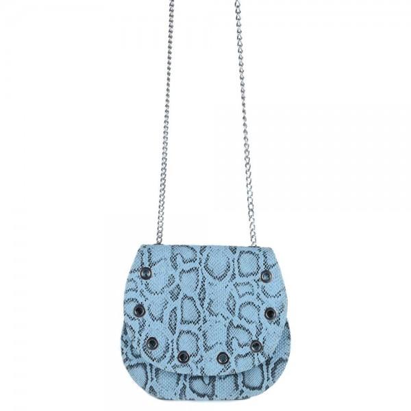 Τσάντα χιαστί με καπάκι Φίδι Σιέλ  50-217