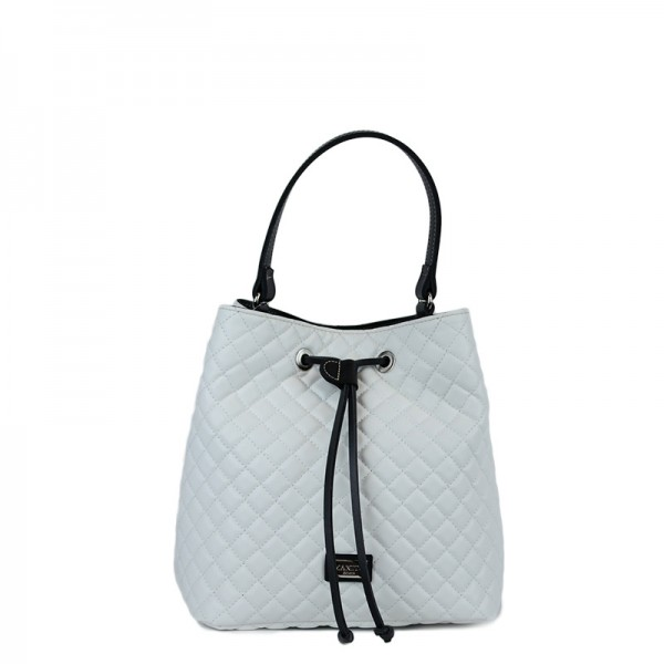 Τσάντα χιαστί πουγκί Λευκή καπιτονέ 24-227