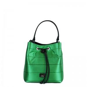 Τσάντα πουγκί χιαστί - χειρός Πράσινη σατέν 28-227