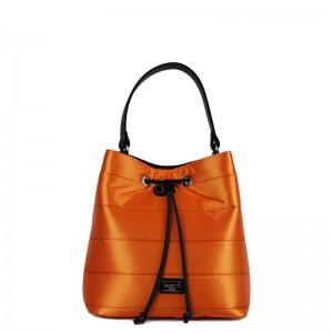 Τσάντα πουγκί χιαστί - χειρός Πορτοκαλί σατέν 28-227