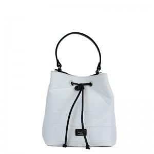 Τσάντα πουγκί χιαστί - χειρός Λευκή σατέν 28-227