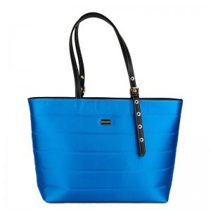Γυναικεία τσάντα shopper Μπλέ σατέν 28-247