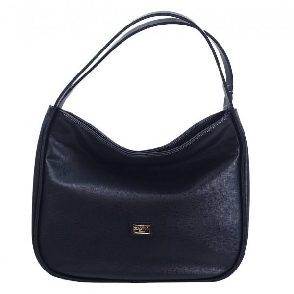 Τσάντα ώμου μαύρη Saffiano 18-219